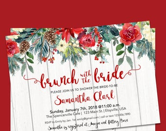 Winter Bridal Brunch Invitation, Winter Bridal Shower Invitation Red Green, Winter Bridal Shower, Printable Bridal Brunch Shower Invitation