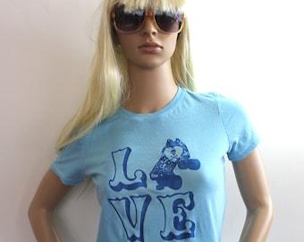 "Roller Derby ""Love"" Tshirt, Roller Derby, quad speed skate, skull and crossbones, women's top in blue or custom colors"