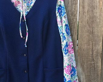 Vintage 60s 70s Mod Dress and Blouse Set | Size Large XL | Navy Blue and Floral Print Shirt