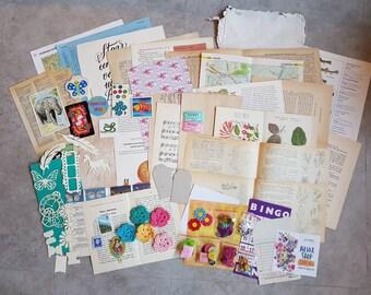 Junk journal kit -embellishments kit -craft destash -scrapbook kit -mixed media kit -vintage papers pack -inspiration kit -paper ephemera 2