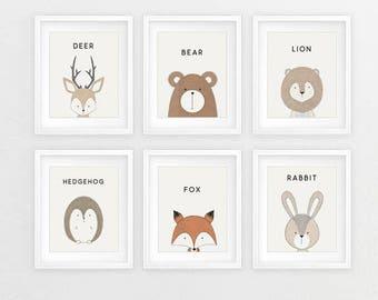 Imprimés, bébé imprimés, imprimé Animal, pépinière imprimé Animal, pépinière estampes, animaux de la forêt, Animal crèche, impressions pour chambre d'enfant