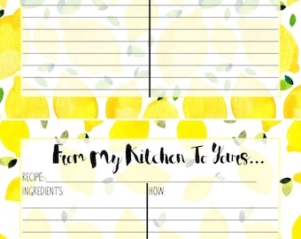 Lemon Printed Recipe Card 5X7