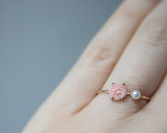 Coral & Pearl flower ring in 14k Rose Gold