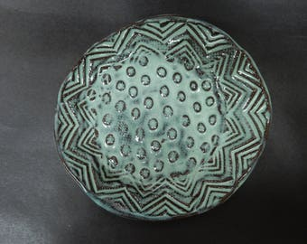 Pottery soap dish made of stoneware clay…..organic in nature…...rustic..sugar mint green glaze...*