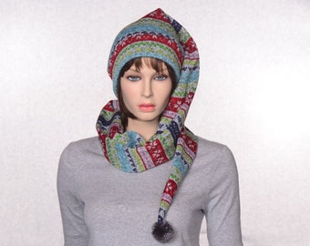 Long Stocking Cap Gray Striped Sewn Sweater Knit Scarf Hat 5 Foot Long Tail Faire Isle Pompom