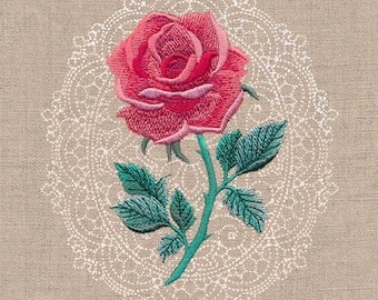 Embroidered Kitchen Towels, Tea Towels, Gift For Momo, Floral Cameo - Rose Kitchen Towel