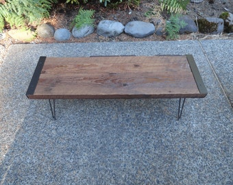 Authentic Outdoor Under Cover Patio Bench from salvaged barnwood with hairpin legs