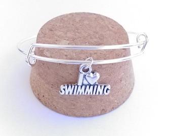 I love swimming charm bangle bracelet