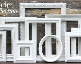 White Shabby Chic Picture Frames / Shabby Chic Home Decor / Upcycled Distressed Picture Frame Set / Gallery Wall / Cascade Collection