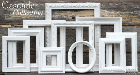 White Shabby Chic Picture Frames / Shabby Chic Home Decor /