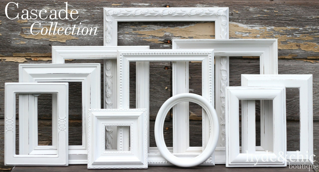 White shabby chic picture frames shabby chic home decor zoom jeuxipadfo Image collections