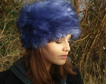 Beautiful Blue Tufty Faux Fur Vintage Style Russian Pill Box Style Hat