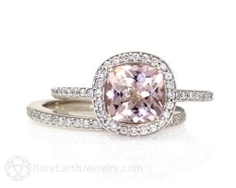 Cushion Morganite Engagement Ring Bridal Set Diamond Halo