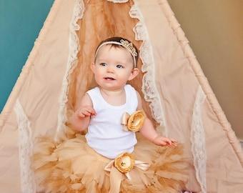 Champagne Gold Birthday Tutu Dress | Strawberrie Rose Tutus