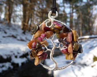 Wire-wrapped Tree of Life Pendant with Tourmaline Multicolor Gemstone Chips