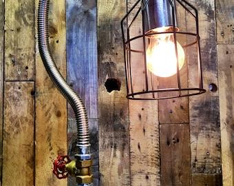 Steam Punk desk lamp with hand valve switch