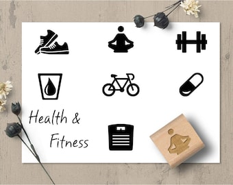 Health and Fitness Planner Stamps, Habit Tracking, Exercise Stamp, Water Stamp, Bullet Journal, Yoga Stamp, Scale Stamp, Bike Stamp 136