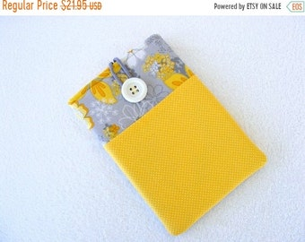On Sale Now IPad Mini Case, Kindle Fire Case, IPad Mini Cover, Kindle Fire Cover, Nook Case, Kindle Fire 7 Case, Grey Yellow Flowers, 8 1/2""