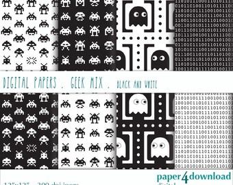 "Geek Mix - Black & White, Digital Paper, 12'x12"", 300 dpi JPG, Printable, Instant Download"