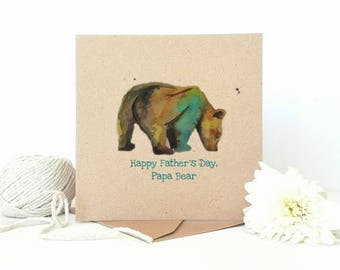 Papa Bear, Father's Day Card, Bear Greeting Card, Dad Card, Card For Dad