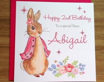 Handmade Personalised Pink Rabbit Birthday Card 1st 2nd 3rd 4th
