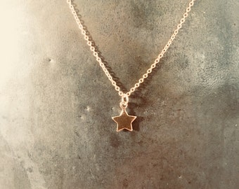 Tiny Rose/Pink Gold Star Charm Necklace - Minimalist - 18""