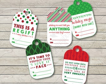 Funny Christmas Gift Tags, Funny Holiday Tags, White Elephant Christmas Tag ,  Printable Digital Download