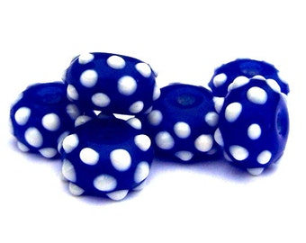6 small blue and white lampwork glass beads, rondelles, bumpy polka dotted dark blue UFO beads