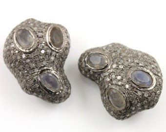 Pave Beads, Pave Diamond Beads, Pave Labradorite  Beads, Pave Findings, Diamond  Beads, Pave Jewlery Component, Oxidized Silver.(DF/BD182)