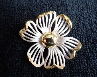 Gold & White Enameled Flower Pin