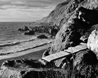 An Evening at the Beach Along the Rugged Big Sur Coast, California - Black & White Photo Poster Wall Art Image - 8x10 or 16x20