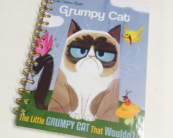 NEW Grumpy Cat Repurposed Little Golden Book Planner/Sketchbook/Journal/Autograph Book