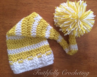 Newborn elf hat.. Long tail hat.. Photography prop.. Yellow and white