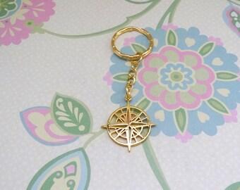 Gold Plated Travel Compass Keychain/Wonderlust Keychain/Traveller Keychain/All Who Wonder are Not Lost/Travel Keychain/Compass Keychain