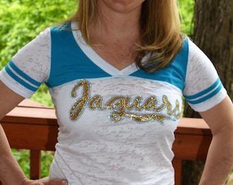 Jaguars Rhinestone Bling Shirt S M L XL Junior fit burnout football shirt