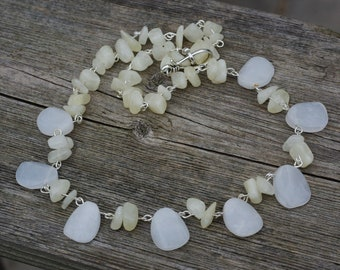 Raw White Jade Necklace ~ Hand Carved Natural Jade Stone Beads ~ Bohemian White Wedding Jewellery ~ Boho Style ~ Mother's Day ~ Good Luck