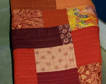 SALE-Red Orange And Yellow Handmade One of a Kind Quilt