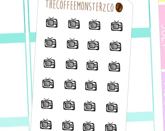 t.v. doodle stickers - hand drawn planner stickers