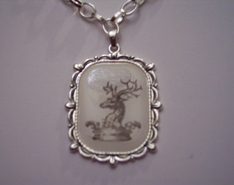 Reindeer Games Pendant with Silvertone Necklace