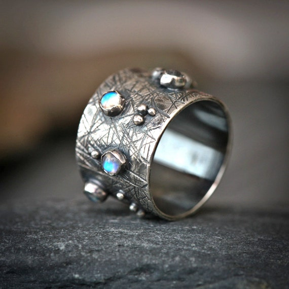 Moonstone Studded Wide Band - Sterling Silver Oxidized Unisex Ring
