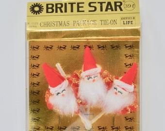 Vintage Brite Star Christmas Package Tie On 3 Pack Vintage Christmas Decorations Made in Japan Unused