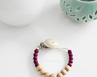 Plum & Natural Wooden beaded baby soother clip, Teething clip, toy clip, pacifier clip, baby gift, baby shower gift, modern baby, binky clip