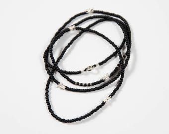 Matte black beaded necklace with sterling silver vertebrae beads // cast bone jewelry // gifts for her