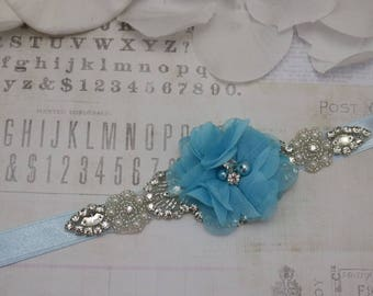 blue belt, flower girl belt, light blue flower belt, bridesmaid belt, wedding sash, sash belt, crystal rhinestone belt, dress belt