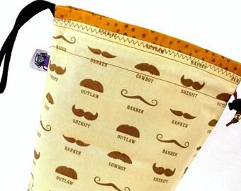 Small Knitting Project Bag Crochet Drawstring Tote WIP Bag - No Shave November