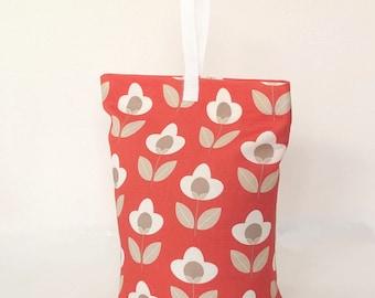 Red Floral Tulip Fabric Door Stop Doorstopper Scandi Home Doorstop Patterned