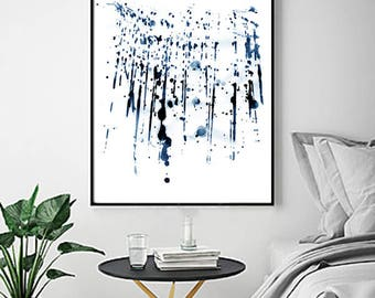 Blue Abstract Watercolor Painting Indigo Blue Navy Wall Art Paint Splatter Minimalist Poster Geometric Brushstrokes Large Abstract Print