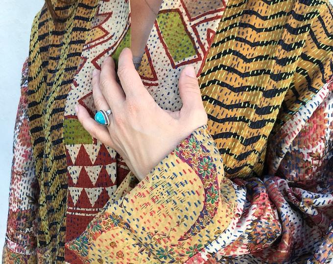 Stunning plus size designer silk kantha kimono