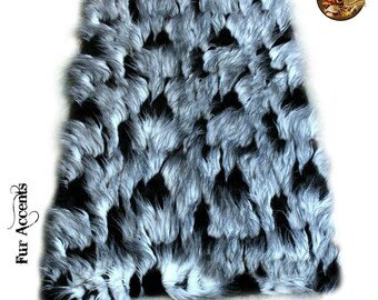 Contemporary Faux Fur Area Rug - Luxury Fur Thick Shaggy Carpet Black Feather Rectangle Shape Plush Padded Designer Throw - Fur Accents USA