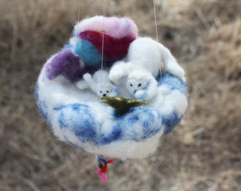 Waldorf Mobile, Polar Bear Baby Crib Ornament, kids rooms decor, arctic story, Mother and Son, Fishing, parent gift, white bear, dry felted